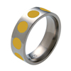 Titanium Ring - Glazed Inlaid Circles