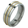 Titanium Ring - Duet Flat Raised Inlay