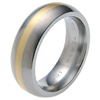 Titanium Ring - Half Round gold inlay