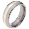 Titanium Ring - Half Round white gold inlay