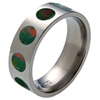 Titanium Ring - Bloodstone Inlaid Circles