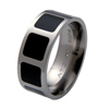 Titanium Ring - Onyx Inlaid Squares