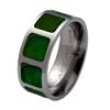Titanium Ring - Jade Inlaid Squares