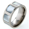 Titanium Ring - Mother of Pearl Inlaid Squares