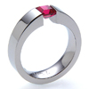 Titanium Ring - Excentris Tension Setting with Ruby